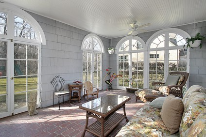 sunroom with back yard views custom built