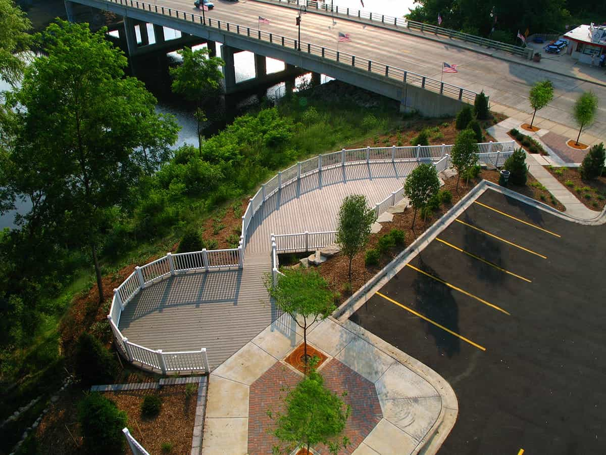 Parking lot and Walkway